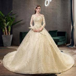 Gold long sleeve wedding prom gown RB1228