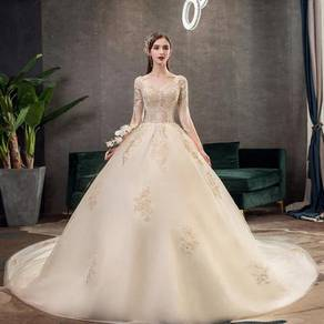 Cream long sleeve fishtail wedding gown RB1230