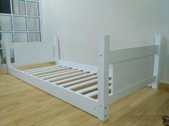 Children bed frame wooden white - safety