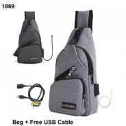 Stylish Chest Pouch Sling Bag with USB Port 1869