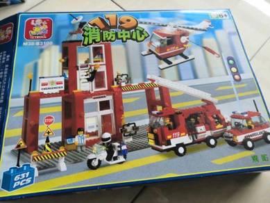 Fire-engine Fireman Blocks Set