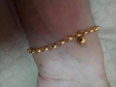 Gelang kaki baby emas 916