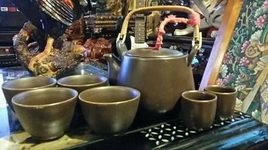 Chinese vintage stoneware teapot teacups