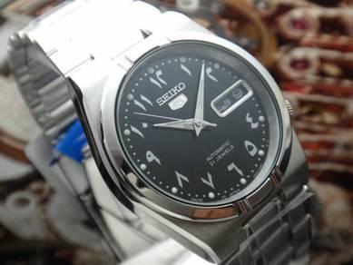 S148) seiko 5 arabic automatic men watch - new