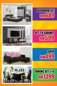 Sofa, dining table, mattress, bedroom set