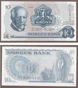 Norway 10 kroner 1982 unc