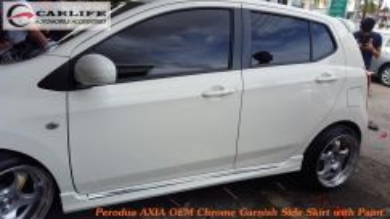 Perodua Axia Chrome Garnish Side Skirt with Paint