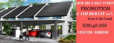 [ 💯New 1.5 storey Gambang ] 💰 Cash Back RM30K 💥0% Downpayment