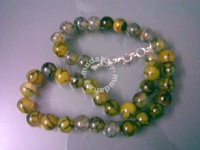 ABNJ-M011 Mixed Color Agate Round Beads Necklace