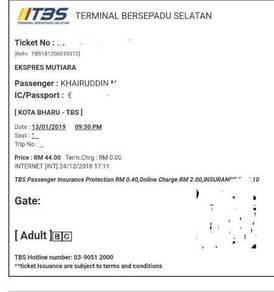 Tiket Bas Mutiara 13/1/2019 KB - TBS