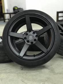Vossen cv3 16 inch sports rim honda city tyre 70%