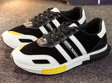 F0249 White Black Sneakers Sports Men Kasut Shoes