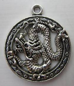 ABPSM-D049 Silver Metal Dragon Pendant Necklace