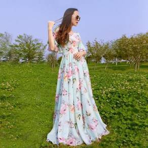 Flower summer prom dinner maxi dress RBP0130