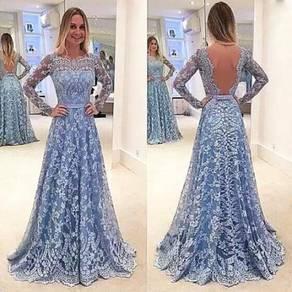 Blue long sleeve lace prom wedding bridal dress