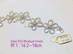 Women bracelet genuine silver 925 rhodium finish