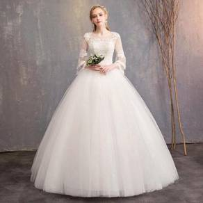 White long sleeve wedding prom dress gown RB1233