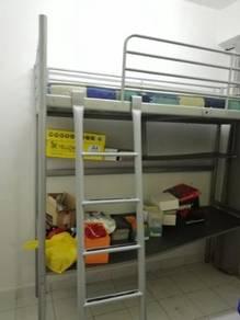 IKEA Double Decker Bed & Desk + Strorage Shelf.
