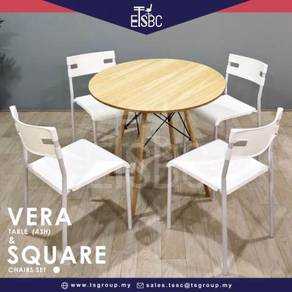 Vera table 80 cm + 4 square chairs