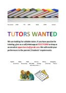 Tutor Wanted in Perlis