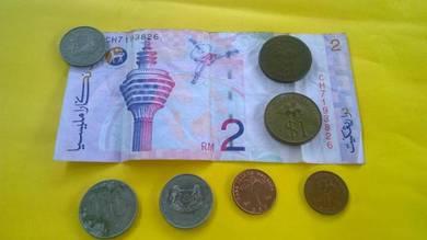 Duit syiling rm 1 dan duit kertas rm 2