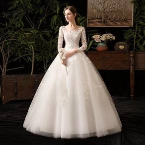 White long sleeve fishtail wedding gown RB1231