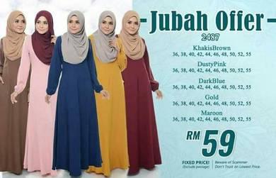 Anggun plain jubah saiz 36 hingga 55 001