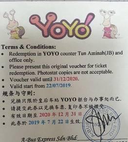 Yoyo bus ticket (Johor to KLIA)