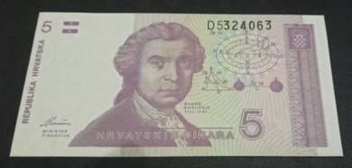 Wang Kertas Republika Hrvatska 5 Dinara