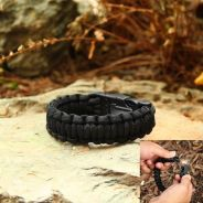 Survival Paracord Bracelet with Fire Starter Black