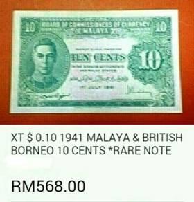 Duit kertas 1941 Malaya n British Borneo 10 sen
