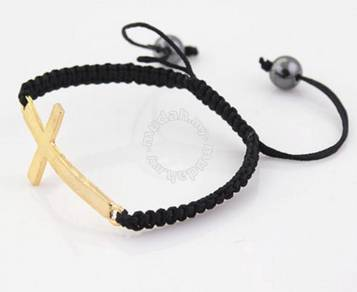 ABBGM-C001 Gold Cross Black Braided Rope Bracelet