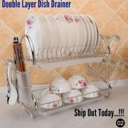 Stainless Steel Double Layer Dish Drainer (01)