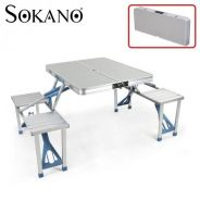 Meja lipat aluminium dan kerusi