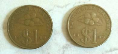 Duit syiling 1ringgit BUNGA RAYA tahun 1989