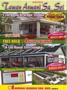 Rumah Teres Setingkat 4 bilik FreeHold Sg Soi