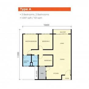 3bedroom, seaview , 0% downpayment, FREE RM 25,000, bukit indah