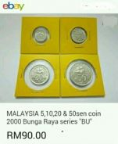 Duit syiling 2000 ~ Bunga set, 5, 10, 20 & 50 sen.