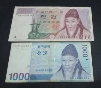 Wang Kertas Korea 1000 Won 2006