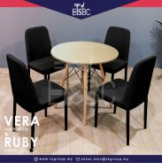 Vera table + 4 ruby chairs