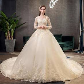 Cream long sleeve fishtail wedding gown RB1229