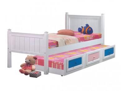 Katil single kayu bed bedframe perabot 405