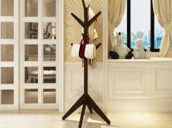 Solid Sturdy Standing Wooden Pole Rack