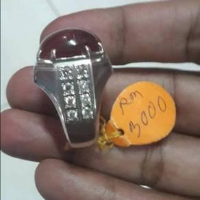 Cincin Delima Ruby Burma Air Kaca