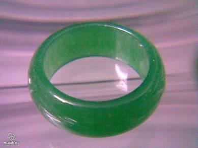 ABRJ-G011 Green Jade Ring - Size 7.75 - 9mm width