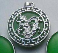 ABPJ-D055 Green Jade Dragon Pendant Chain Necklace