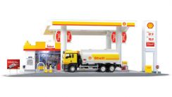 SHELL GAS OIL STATION w SHELL TANKER DIECAST SET