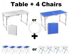 NEW Aluminium Folding Foldable Table with 4 Chairs