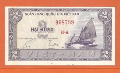 2 DoNG South Vietnam First Issue 1955 -UNC
