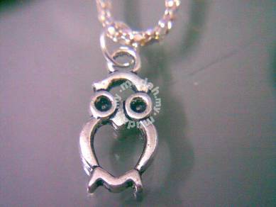 ABPSM-O002 Owl Silver Metal Pendant Necklace